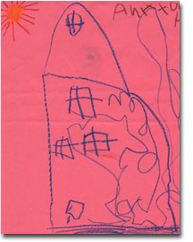 A child's drawing of a house